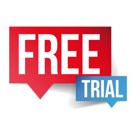 Free Trial tekstballon vector Stock Illustratie