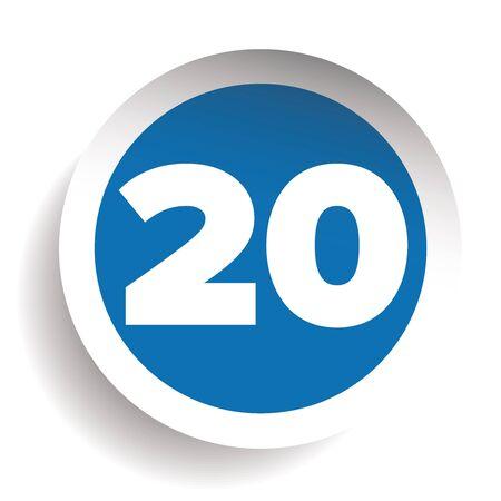twenty: Number twenty icon vector Illustration