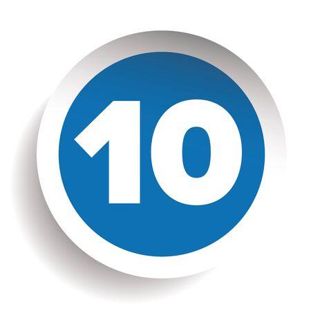 ten: Number ten icon vector Illustration
