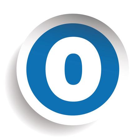 Number Zero sticker vector blue Illustration