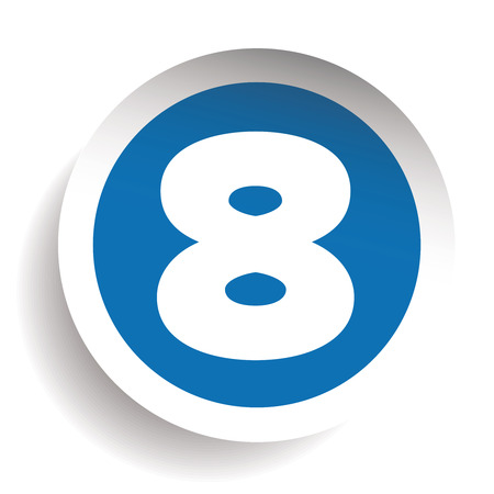 Number Eight sticker vector blue Illustration