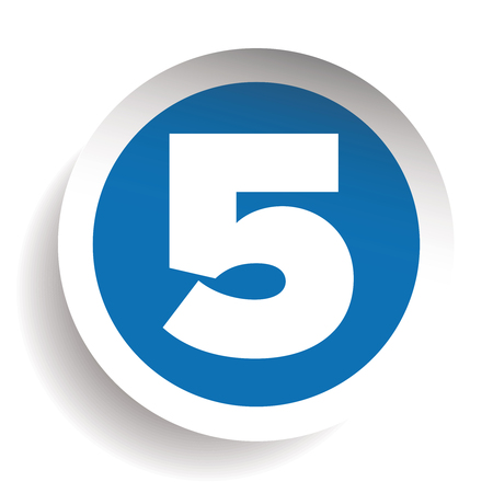 seventh: Number Five sticker vector blue