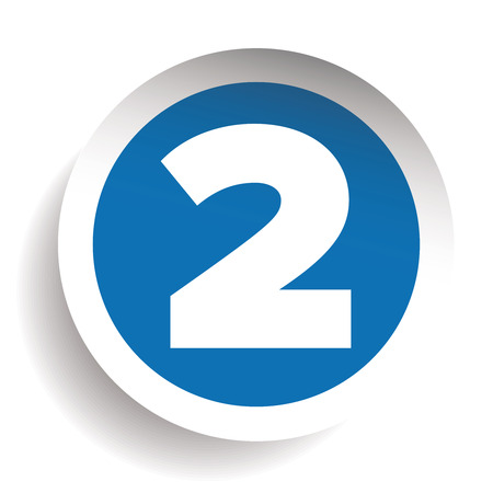 seventh: Number Two sticker vector blue