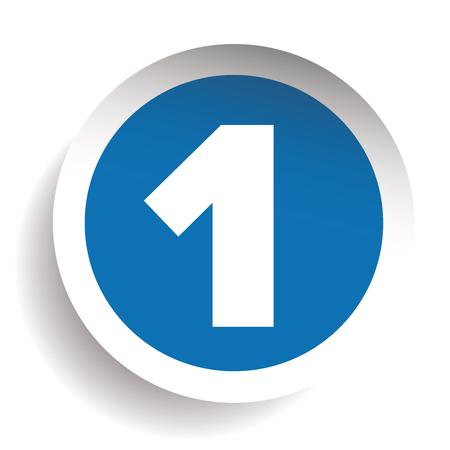 Number One sticker vector blue Illustration