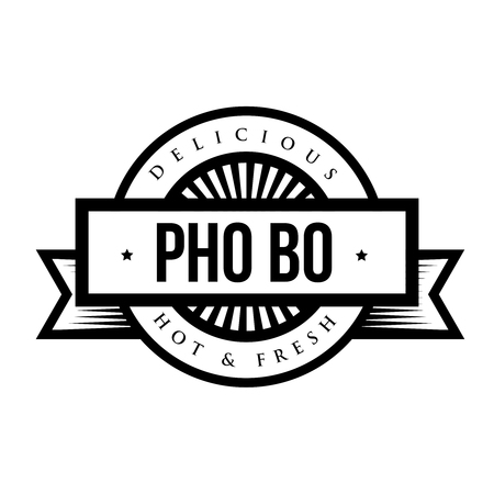 broth: Delicious Pho Bo (Vietnamese soup) - Vintage stamp