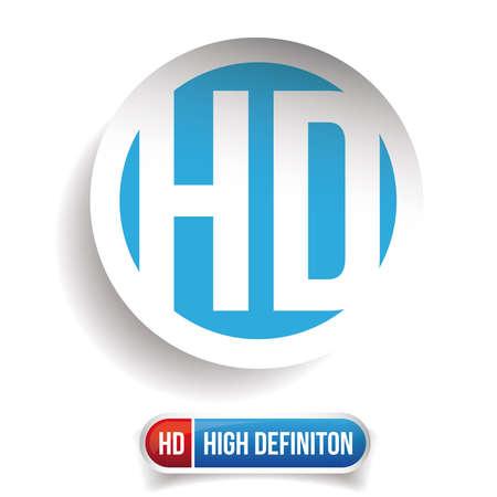 botón HD - High Definition conjunto de vectores