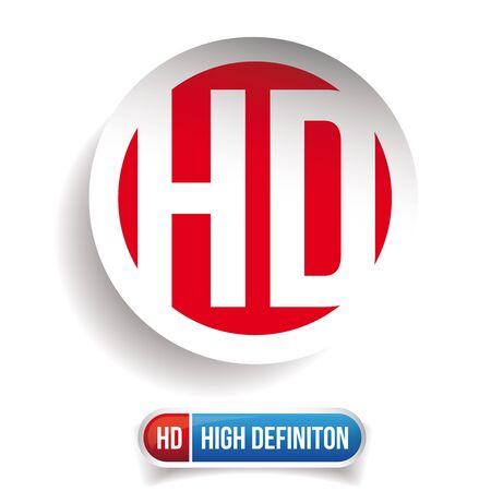 definicion: botón HD - High Definition conjunto de vectores