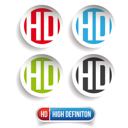 high definition: HD button - High Definition vector set