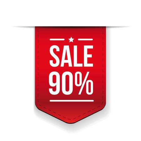 ribon: Sale 90% off banner red ribon Illustration
