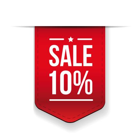 Sale 10% off banner red ribon Illustration