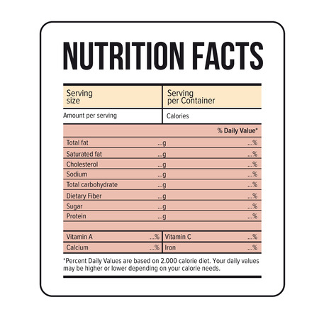 grams: Nutrition Facts label template vector
