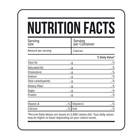fiber food: Nutrition Facts label template vector