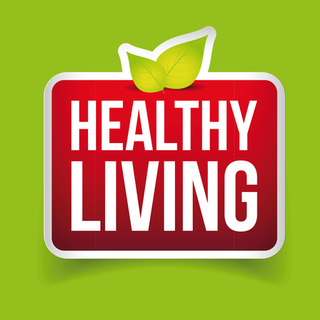 mauve: Healthy Living button vector red Illustration