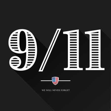 9-11, We will never forget - September 11, 2001 Illustration