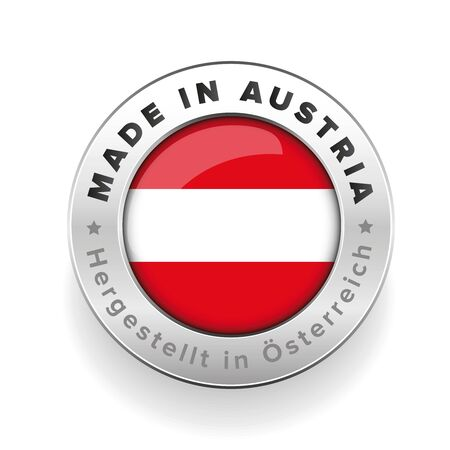banderole: Made in Austria button with German Translation