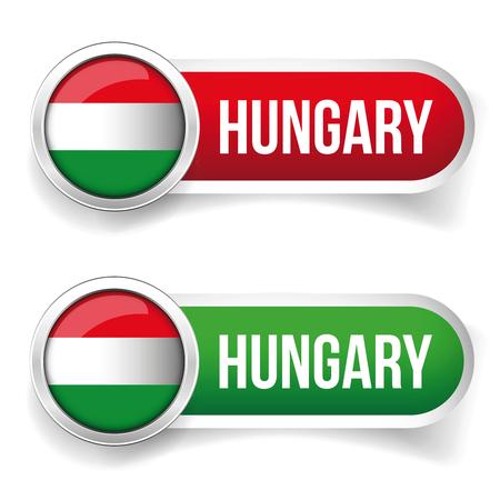 hungary: Hungary button set vector