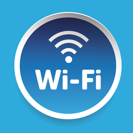 wi: Wi-Fi icon sign vector label