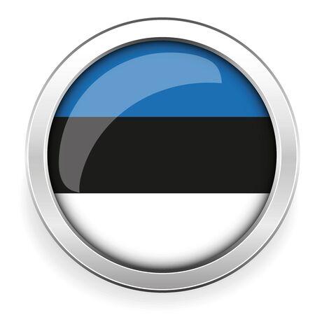 estonia: Estonia flag silver button Illustration