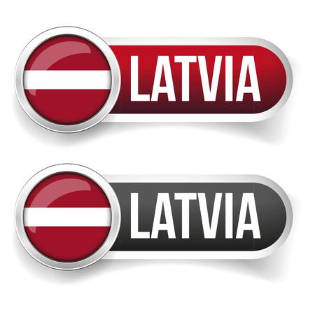 latvia flag: Latvia flag silver button