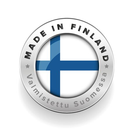 made in finland: Made in Finland button with finnish translation Illustration