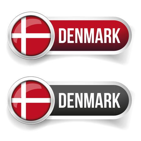 denmark flag: Denmark flag button vector Illustration