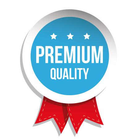 higher quality: Premium quality label vector blue