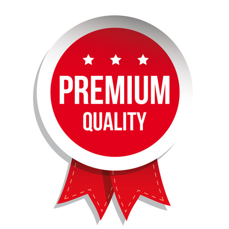 higher quality: Premium quality label vector red