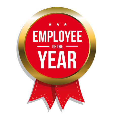 red ribbon week: Employee of the year label or stamp with red ribbon