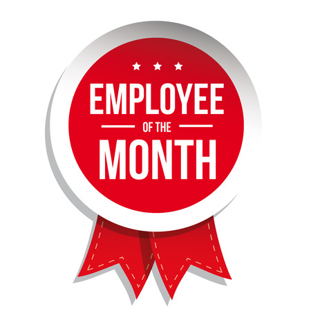 red ribbon week: Employee of the month label or stamp with red ribbon