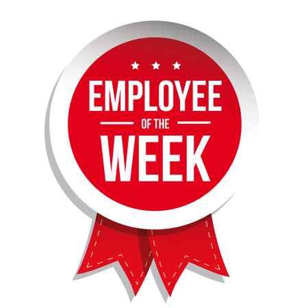 red ribbon week: Employee of the week label or stamp with red ribbon