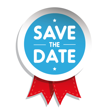 Save The Date badge with red ribbon Illustration