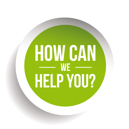 we: How can we help you? Vector label