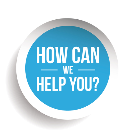 How can we help you? Vector label Vetores