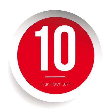 ten: Number ten vector label red Illustration