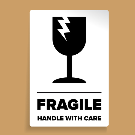 Fragile Packaging Label or sticker vector Illustration