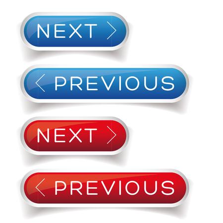 Suivant Précédent bouton rouge et bleu Vecteurs