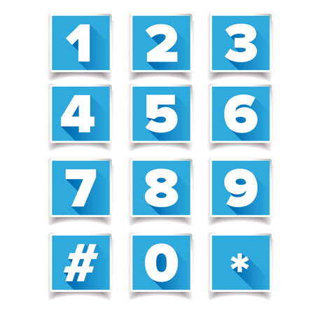 number icon: Number icon set square blue Illustration