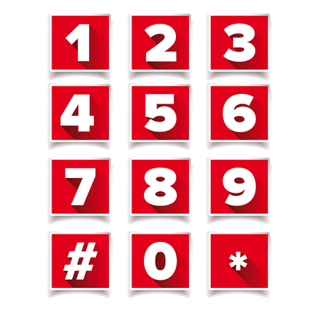 number icon: Number icon set square red