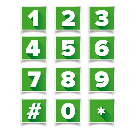 number icon: Number icon set square green Illustration