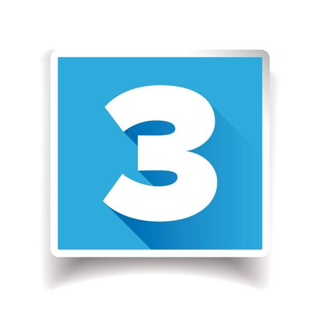 Number three label or number icon Ilustrace