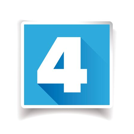 Number four label or number icon