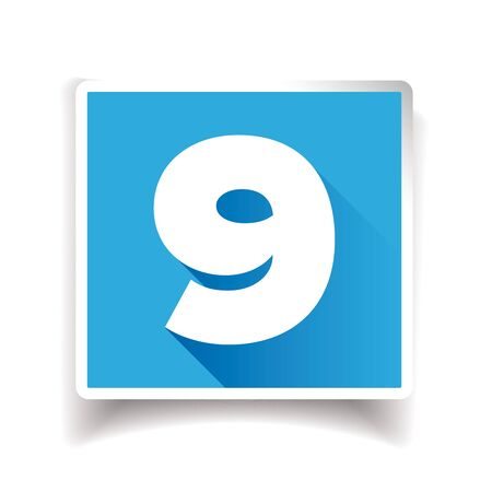 number nine: Number nine label or number icon
