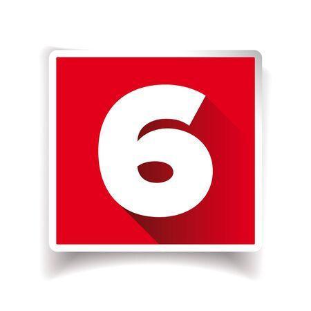 number six: Number six label or number icon Illustration