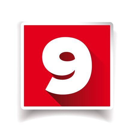 numero nueve: El número nueve etiqueta o símbolo del número de Vectores