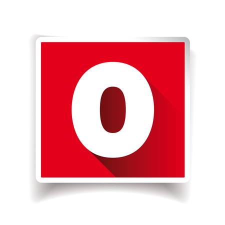Number zero label or number icon