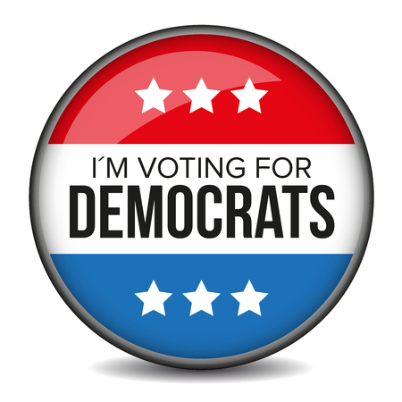 democrats: I am voting for Democrats - election badge Illustration