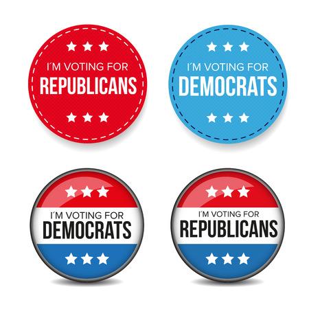 democrats: I am voting for Democrats  Republicans - election badge