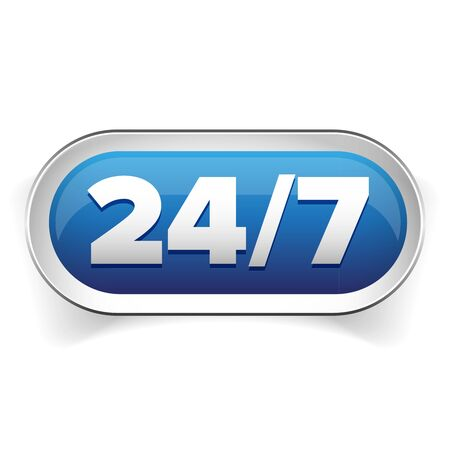 24 hr: 24 7 icon. open 24 hours a day and 7 days a week Illustration