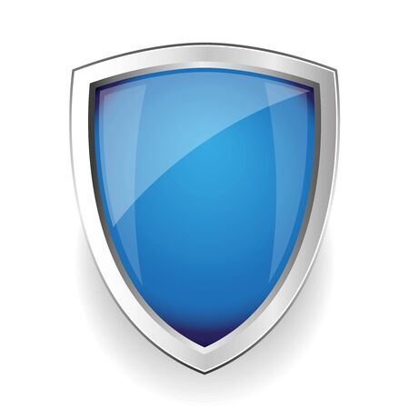 iron defense: Blue empty vector shield