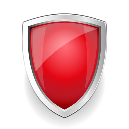 iron defense: Red empty vector shield